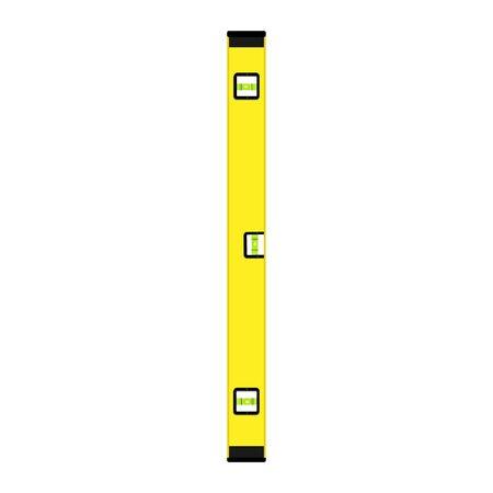 Yellow spirit level isolated on white background.