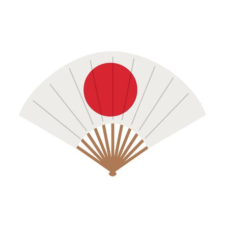 Oriental japan fan isolated on white background. Traditional paper chinese or japanese geisha vector folding fans