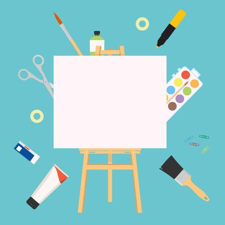 Easel for painting workshop. Paint artists workspace concept, vector painter worker artistic design studio canvas and picture image materials, painting background Ilustrace