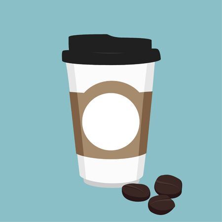 Disposable coffee cup icon with coffee beans on blue