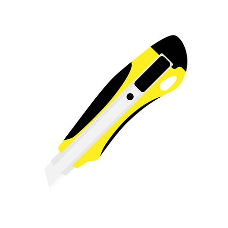 Yellow office stationery knife isolated on white background