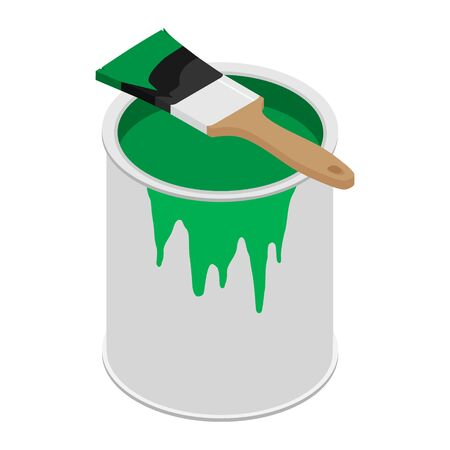 Metal paint can with green paint and paintbrush with wooden handle vector illustration Ilustração