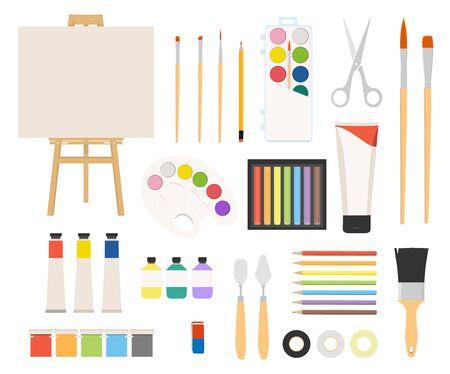 Painter art tools on white Vector Illustration