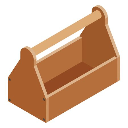 Old empty carpenter wooden toolbox isolated on white isometric view.