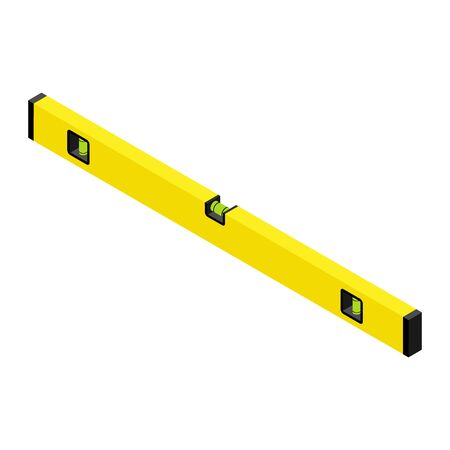 Yellow spirit level isolated on white background isometric view.