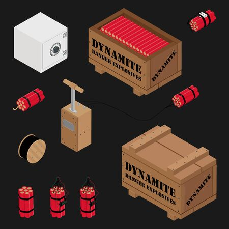 Blasting Machine or detonator box, safe, dynamite sticks and black wire electric cable reel isolated on white background isometric view raster set. Caution explosive.