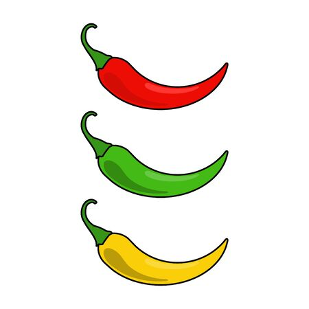 Hot chilli pepper raster set isolated on white background. Red, yellow and green.