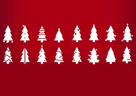 Holiday's Background with Season Wishes and white silhouette Christmas trees Imagens