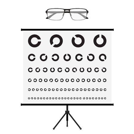 Eye test chart and glasses. Vision exam. Optometrist check. Medical eye diagnostic. Sight, eyesight. Optical examination