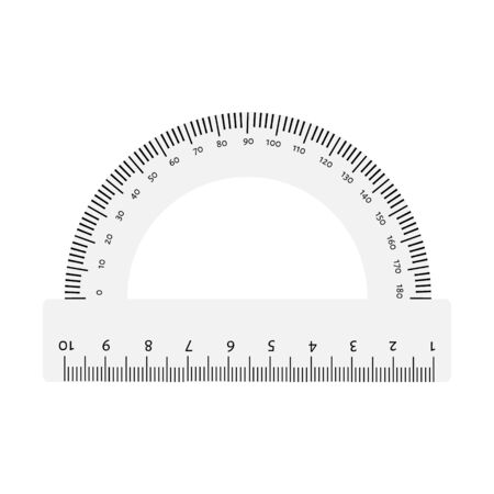 White transparent protractor ruler isolated on white background