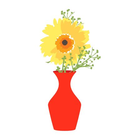 Red vase with blooming flowers for decoration and interior.