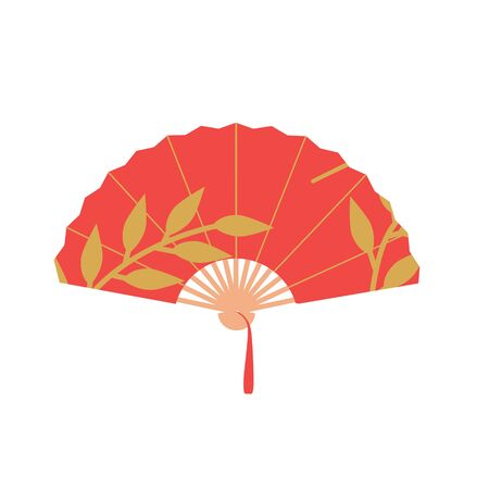 Asian fan. Red hand traditional fan  isolated on white background. Paper folding painting vector fan 일러스트