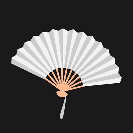 White open fan isolated on background vector. Illustration of fan traditional culture, accessory chinese design