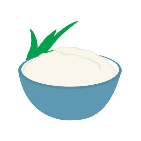 Farmers cheese, curd cheese or cottage cheese in bowl. Vektorgrafik