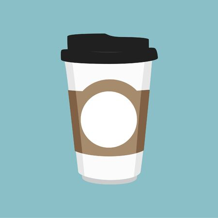 Vector illustration disposable coffee cup icon on blue background. Coffee cup logo