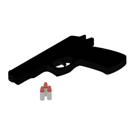 Pistol gun and bullets isometric view isolated on white background. Weapon handgun