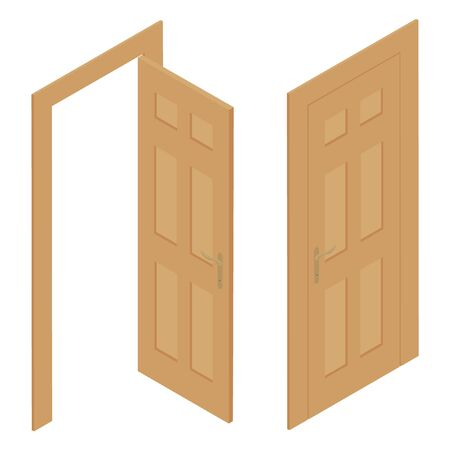 Set of different wooden door isolated on white background. Vector. Isometric view 일러스트