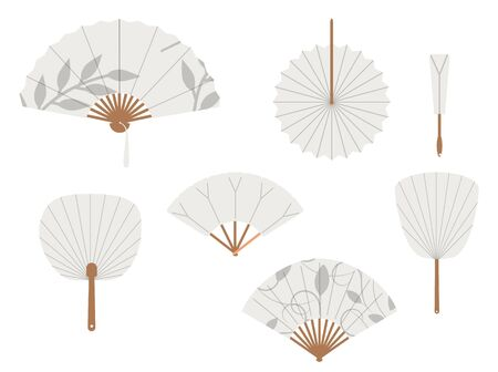 Chinese fans. Japanese traditional hand fan set raster illustration, vintage woman paper fans isolated