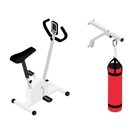 Red boxing bag and gym bike isometric view isolated on white background. Fitness home gym equipment