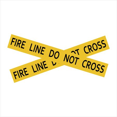 Fire line do not cross yellow caution tape. Stock Photo