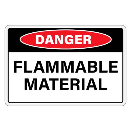 Danger flammable material sign, label isolated on white background