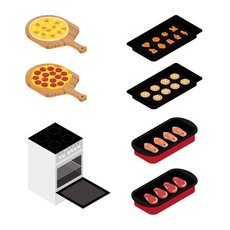 Set of various plates, forms of food and kitchen stove isolated on white background. Pizza, meat, fish and cookies. For restaurants menu design. Isometric view. Vector
