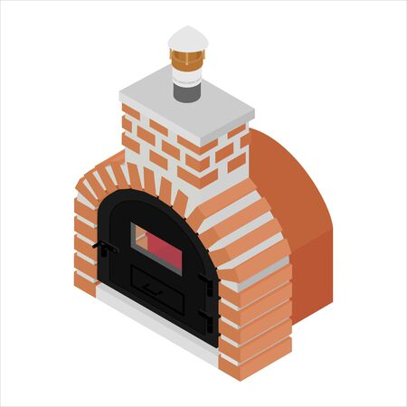 Traditional brick oven for cooking and baking pizza isometric view isolated on white background