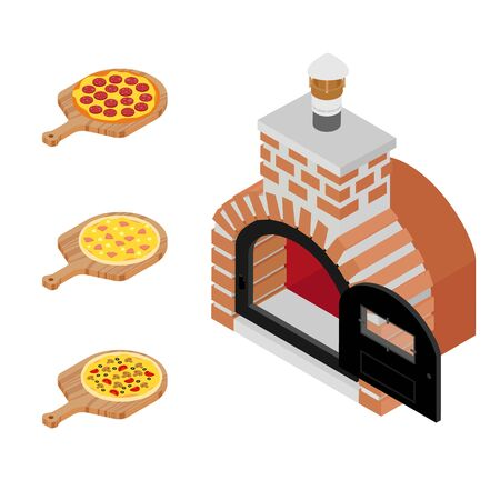 Italian different pizzas on wooden board cooked in oven. Salami, mushroom and hawaiian pizza for restaurants, pizzerias Ilustração
