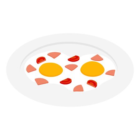 Fried egg with ham, sausage and tomato on plate isometric view. Breakfest. Vector