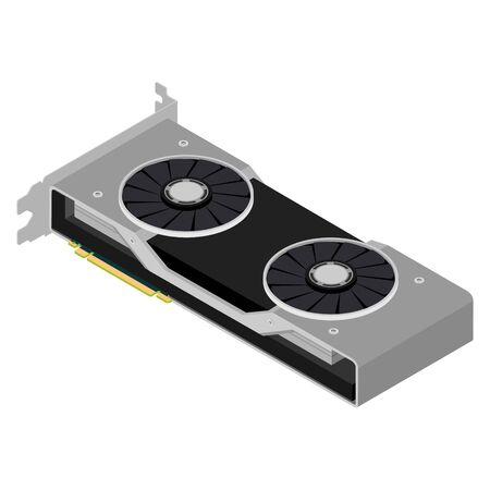 Modern graphic video card isometric view isolated on white background. Gaming. Vector 写真素材 - 148741560