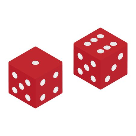 Red game dice isometric view isolated on white background. Casino gambling concept. Vector Illustration