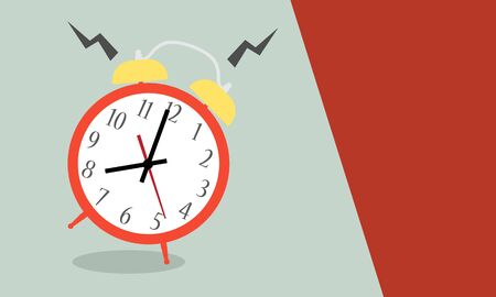 Alarm clock red wake-up time isolated on background in flat style. Vector illustration 向量圖像