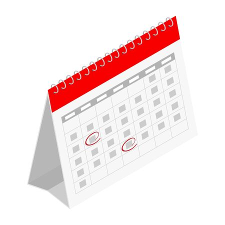 Calendar icon with mark. Planning. Time management. Vector. Isometric view. Isolated on white background 向量圖像