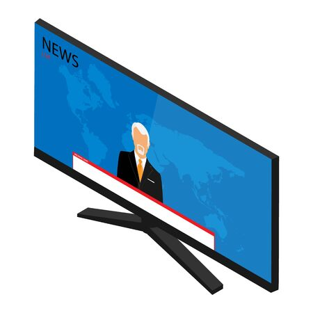 Vector illustration anchorman on tv broadcast news. Media on television concept. Breaking news. TV News with man newsreader or journalist concept background