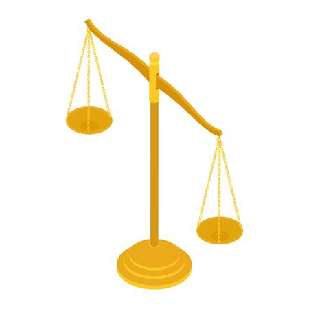Gold brass balance scale isolated on white background. Sign of justice, lawyer. Isometric view. Vector Çizim