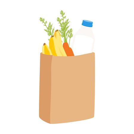 Eco shopping bags. Paper bags with fruits and vegetables. Shopping raster concept
