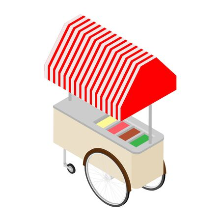 Ice cream cart raster isolated on white isometric view.