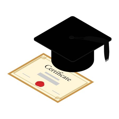Graduation hat mortarboard and diploma, certificate isolated on white background, education concept. raster. Isometric view