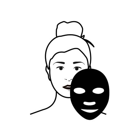 Woman apply facial mask on her face isolated on white background. Beauty fashion girl apply facial mask.