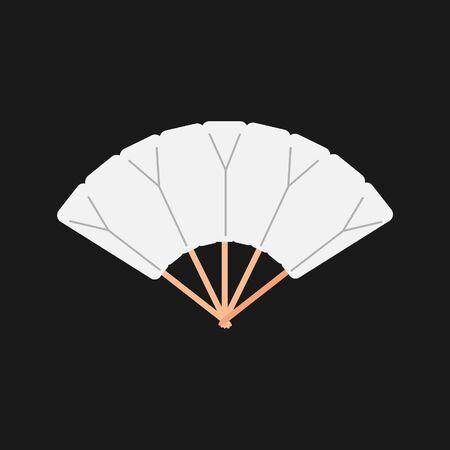 White chinese folding hand fan raster isolated on dark background