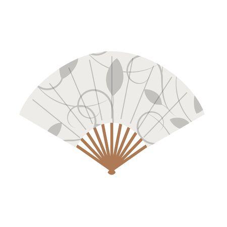 Floral ornament asian fan on white background Zdjęcie Seryjne