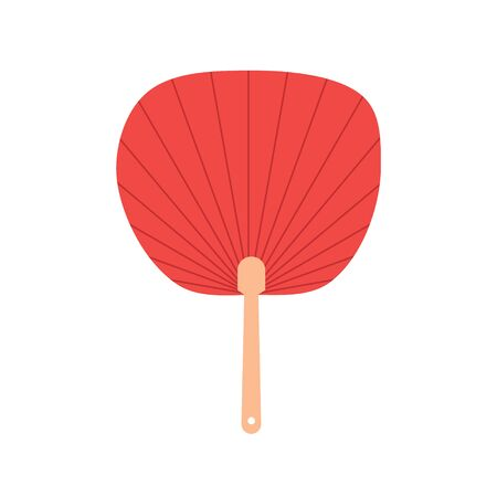 Red non-folding uchiwa fan isolated on background raster. Illustration of fan traditional culture, accessory chinese design Zdjęcie Seryjne