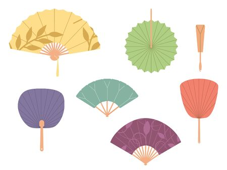 Asian fans. Colored hand traditional fan set isolated on white background. Paper folding painting raster fans