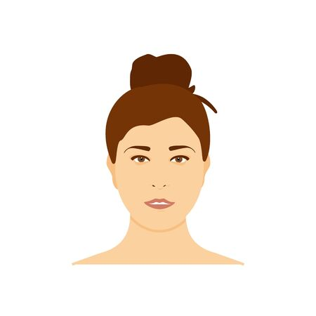 Beautiful teenage girl, woman avatar. Brunette woman isolated on white background Zdjęcie Seryjne