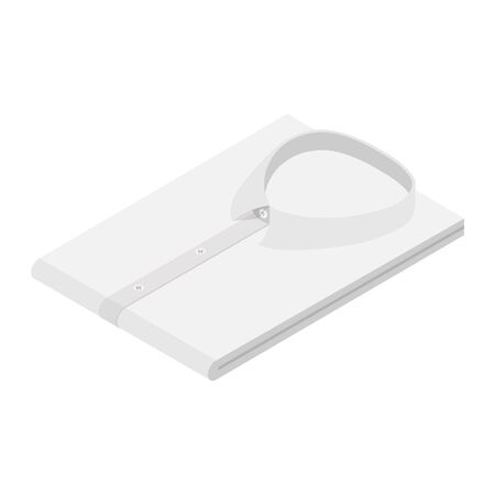 White color formal business folded shirt isometric view isolated on white background. Shirt with long sleeves Zdjęcie Seryjne