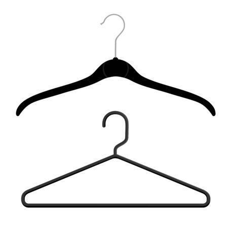 Black plastic coat hangers, clothes hanger on a white background