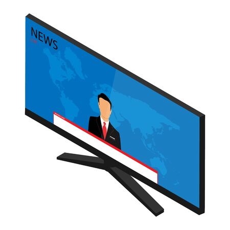 raster illustration anchorman on tv broadcast news. Media on television concept. Breaking news. TV News with man newsreader or journalist concept background Zdjęcie Seryjne