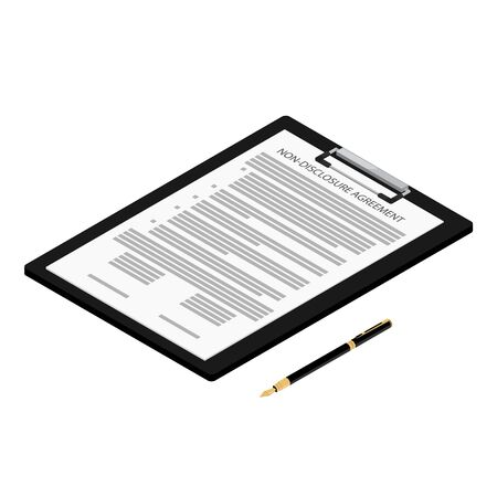 Non-Disclosure Agreement document with stamps isometric view isolated on white background. NDA concept.