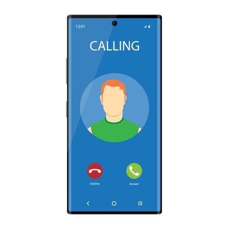 Smartphone with incoming Phone Call Screen User Interface. Communication concept Zdjęcie Seryjne