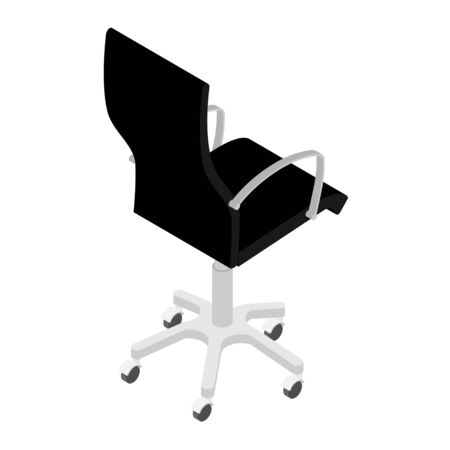 Modern black office chair isolated on white background isometric view . Office furniture Zdjęcie Seryjne